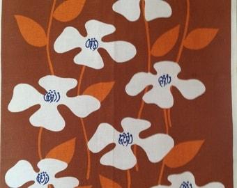 Vintage Cotton Tea Towel With Vibrant 1970's Flowers.