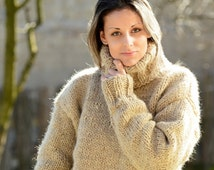 Hand Knitted pure Wool Sweater Beige Soft Turtleneck Jumper Pullover Jersey by EXTRAVAGANTZA * MADE to ORDER *