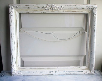 Large White Frame Empty Painted Shabby Chic Old Vintage Frame Embellished Wall Groupings Wedding