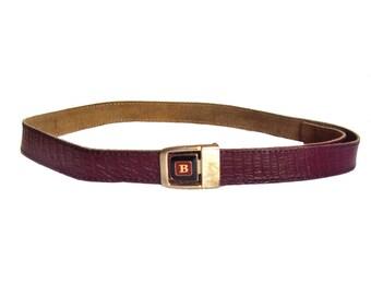 Vintage Real Leather red belt Bordeaux burgundy