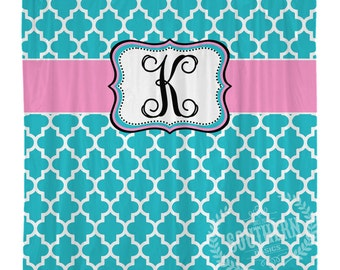 Blue Pink Personalized Shower Curtain - Monogram