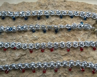 Barrel Weave chainmaille necklace with magatamas, your choice of colours