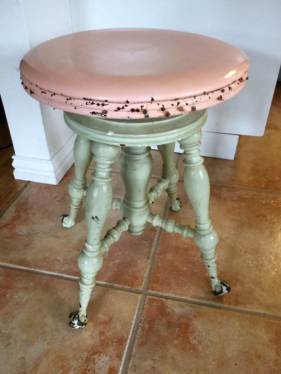 Victorian Piano Swivel Stool Antique Adjustable Clawfoot Chair