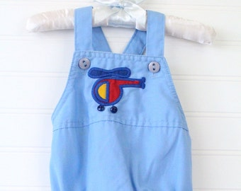 Vintage blue baby romper with airplane detailing, Health-tex romper for 3 Mo