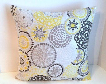18 x 18 Yellow & Grey Medallion Envelope Style Pillow Cover