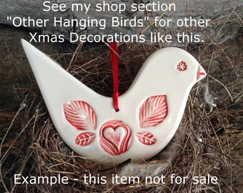 Christmas Decoration - Red and White Dove