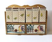 Vintage Fred Roberts  Chicks  And Rooster Hand Painted  Condiment / Spice Rack with 6 Containers / Ceramic on Wood Caddy