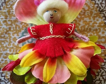 OOAK, fairy dolls, fairies, fairy doll, Vermont doll, small doll, miniature doll, bendy doll, flower fairy doll, doll, Waldorf doll, fairie
