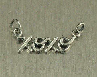 Sterling Silver XOXO Charm--Hugs and Kisses Pendant--XOXO Festoon--XOXO Link--Love Connector--Connecting Charm--Cursive Charm--Letter Charm