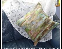 Woodland Hues Watercolour Fabric Cushion, Quilted Hand Dyed Watercolour Effect Fabric in hues of Greens, Browns, Greys and Sandy Blues, C005