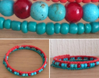 Wire wrap bead bracelets