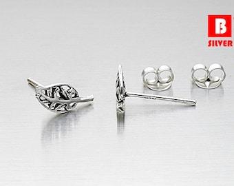925 Sterling Silver Oxidized Earrings, Leaf Earrings, Stud Earrings (Code : K16C)