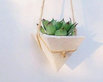White Concrete Planter/Succulente planters/Hanging planters/Hanging Pot/Air Plant Holder/White Planters/ Gift for Home/Concrete Pot