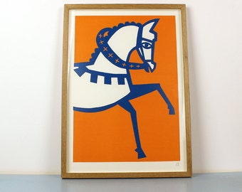 A3 Horse Linocut print