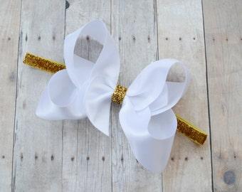 gold baby headband, baby headband, white and gold headband, glitter headband, sparkly baby headband