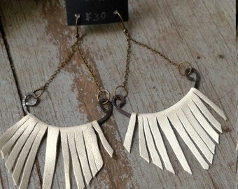 Recycled leather fringe earrings