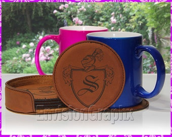 Personalized Custom Engraved Leatherette Set of 6 Round Coasters Shield Family Letter Gift