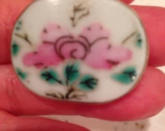 Vintage Ceramic Floral Pendant Set In Silver Bezel