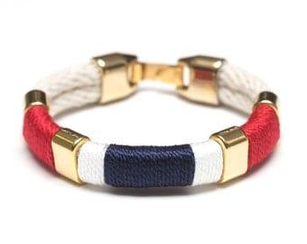 Nautical Rope Bracelet / Nautical Jewelry / Ivory Rope Bracelet / Patriotic Rope Bracelet / Nautical Gift / Red White Blue Bracelet