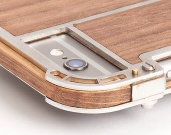 iPhone 7 Case - Unique design handmade in wood, metal with brass details and walnut veneer back.