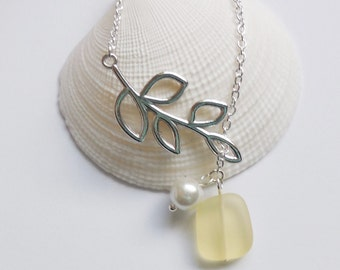 Lemon Yellow Sea Glass Necklace, Charm necklace, Pearl, Silver Branch, bridesmaid necklace, beach wedding.  FREE SHIPPING within the U.S.