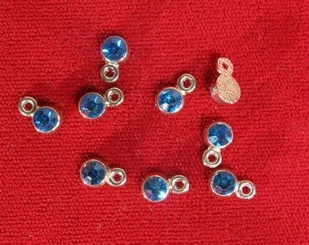 "50pc 5mm ""blue zircon"" color charms in antique silver style (BC1106B)"
