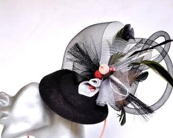 Race/wedding hair fascinator on headband