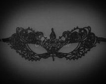 Black Lace Masquerade Mask - Elegant, Minimalist Macrame Lace Mask - Venetian Masquerade Mask - Brocade Lace, Lace Mask for Masquerade Ball