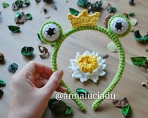 crochet frog headband, crochet patterns, frog patterns, prince frog, crochet, crochet crown, crown pattern PDF Instant Download