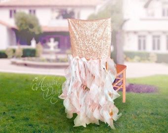 Bridal Chair Cover Rose Gold Wedding Sequin Ruffle Chair Decoration MADE TO ORDER Sparkle Willow Slipcover for Wedding Bridal Shower Events