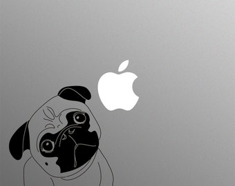 Pug Dog Decal Laptop Sticker for Apple MacBook / Pro / Air