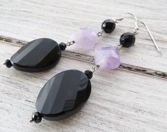 Black onyx earrings, sterling silver 925 earrings, lavender amethyst earrings, dangle earrings, semi precious stone jewelry, gioielli