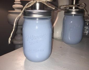 Sky blue mason jar soap dispenser
