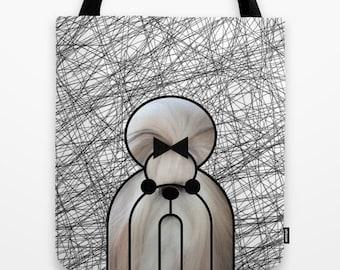 Shintzu tote bag dog shoulder bag dog bag dog purse dog lover dog portrait pet printed dog bag black and white modern tote bag
