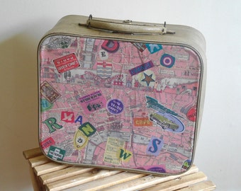 Vintage Upcycled Travel Case - Vanity Case - Small Suitcase