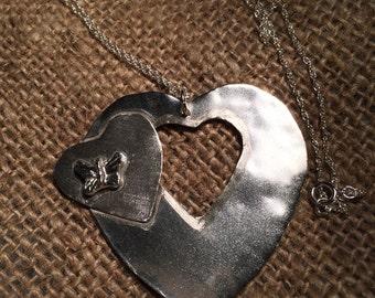 Sterling Silver Butterfly Heart Pendant