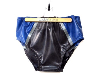Mens briefs with elasticated waist and legs  in latex rubber.