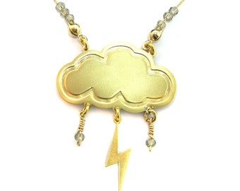 Gold cloud and lightning Necklace, winter necklace,  Nature jewelry, Cloud jewelry, Beaded necklace, Lightning bolt, Gift for her, under 40