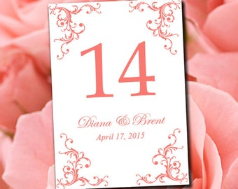 """Wedding Table Number Template - Coral Reef Table Number - Wedding """"Diana"""" Printable Table Card - Instant Download Table Number Card"""
