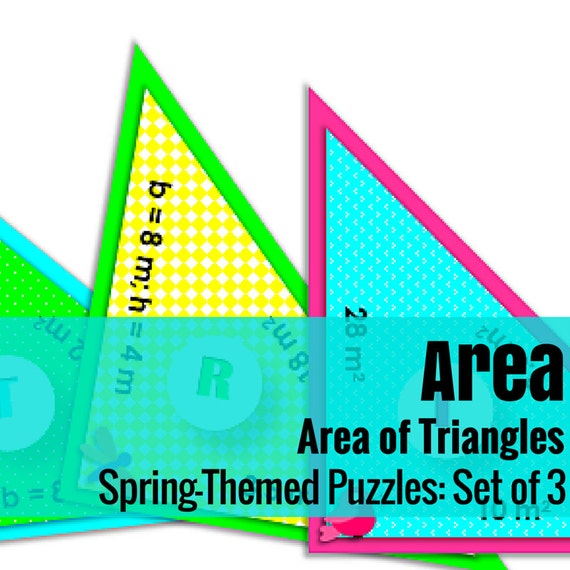 Area of Triangles Puzzles - Set of 3 Spring-Themed, Triangle-Shaped Jumbo Puzzles