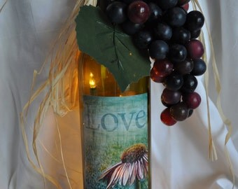 Re-Purposed lighted Love Coneflower wine bottle