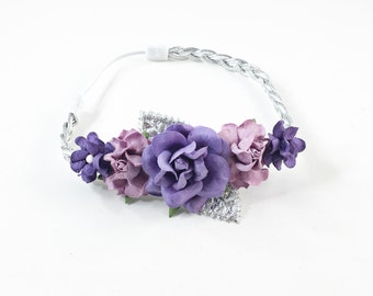 Purple Headband, Lavender Headband, purple and lavender headband, silver Headband, purple flower girl Headband, lavender flower headband