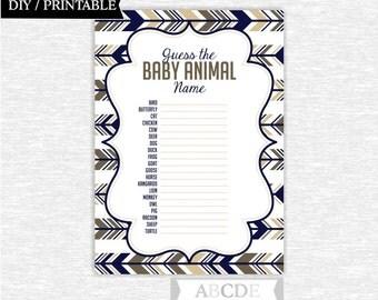 Instant Download Tan, Brown, Dark Navy Woodland Deer Baby shower Game, Baby animals DIY Printable ( PDW003 )