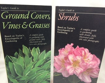 Garden Books, two books,Taylor's Guide, Ground Covers, Vines & Grasses, Shrubs, Taylor's Garden Books, Garden Lover Gift