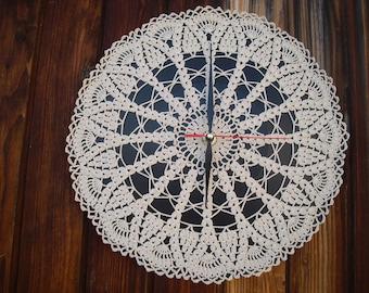 Wall clock, with glass doily crochet handmade and mechanism precision quartz