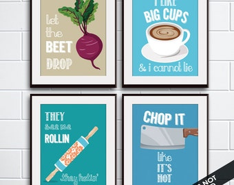 Beet Drop, Big Cups, Rollin, Chop it (Funny Kitchen Song Series) Set of 4 Art Prints (Featured in 28, 10, 9, 8) Kitchen Art