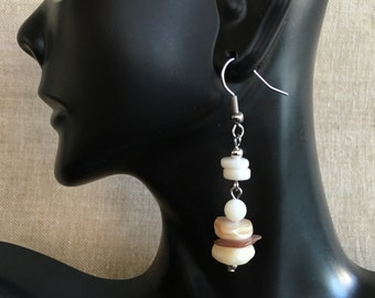 Natural Shell Chips and Rondel Shell Beaded Dangle Earrings