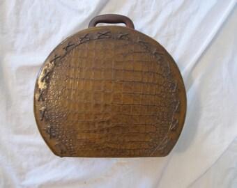 Vintage Faux Crocodile Leather Lined Train Case