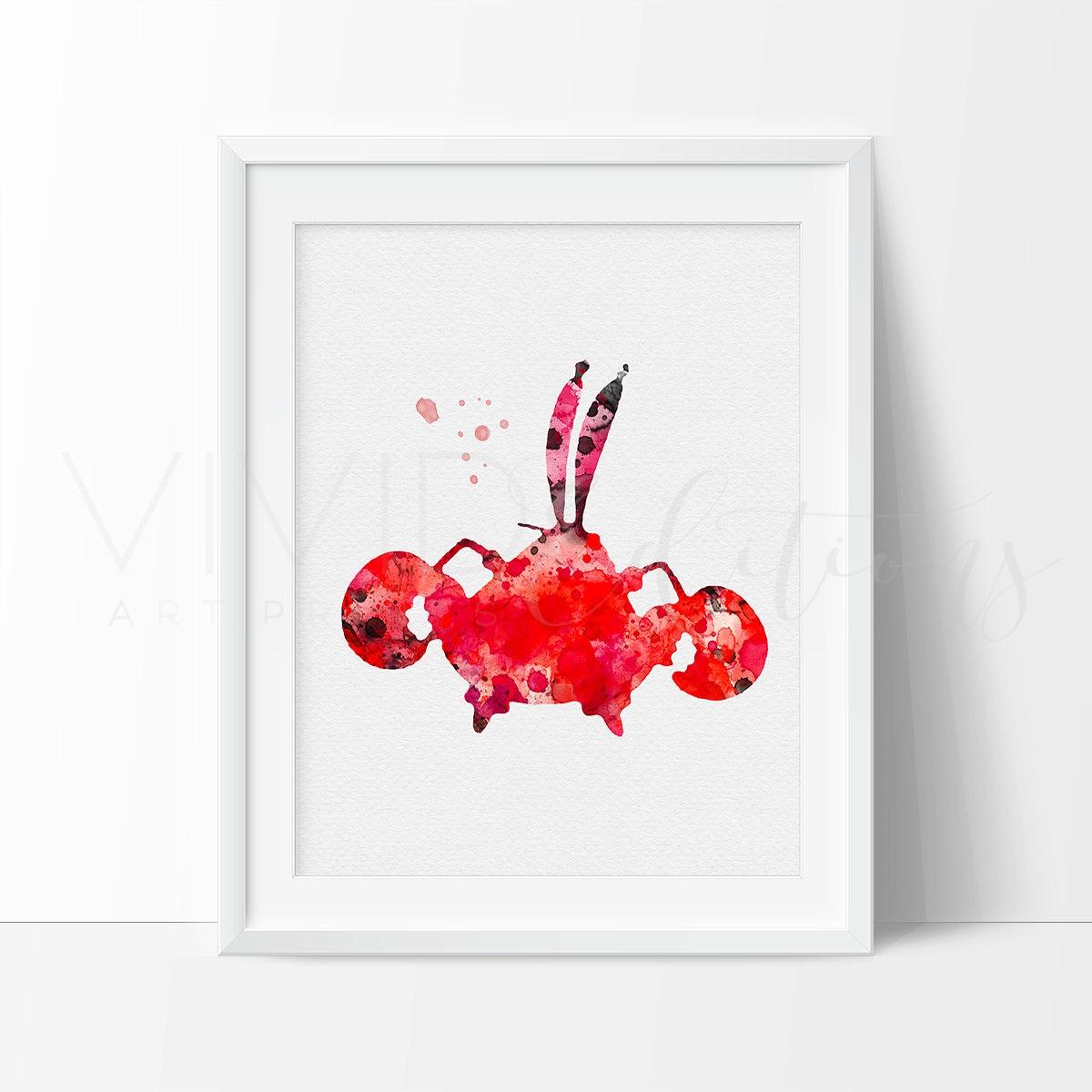 mr krabs print spongebob watercolor art nursery art print