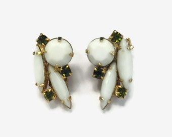 1950s Earrings / Vintage Milk Glass and Faux Emerald Rhinestone and Gold Tone Clip Earrings